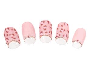 ピンクのヒョウ柄がキュートな逆フレンチ