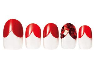 赤のワンカラー×ハートのフレンチが情熱的