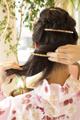 ミディアムヘアで作るバレッタがポイントの和風アレンジ