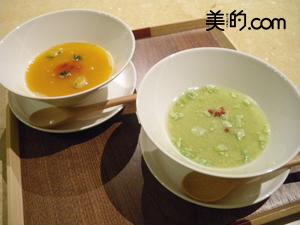 施術後には温かいスープも。写真は枝豆とかぼちゃで、これが本当に美味しい!