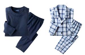 (左)セシール Tタイプパジャマ (右)セシール シャツパジャマ