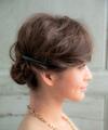 短めボブの華やかなまとめ髪