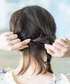 【1】ツイスト編みで作るアップヘア