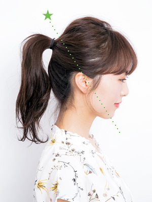 【1】ぱっつん前髪×高めポニーテール