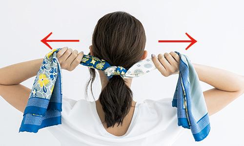 くるりんぱにスカーフをプラスして簡単かわいく