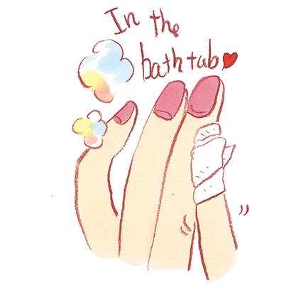 甘皮の処理は湯船で指をふやかしガーゼでオフ!