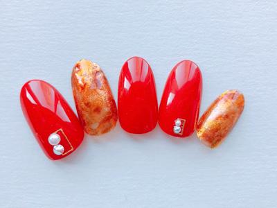 赤×深みオレンジのべっ甲柄