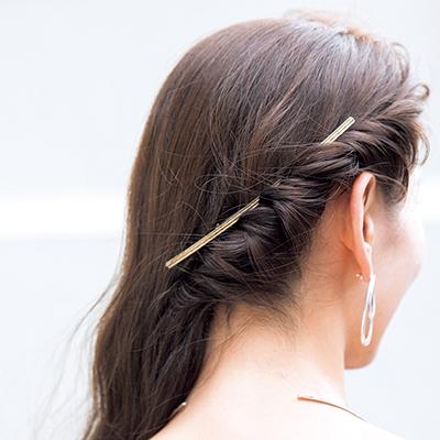 ねじり編みして留めるだけの簡単前髪セット