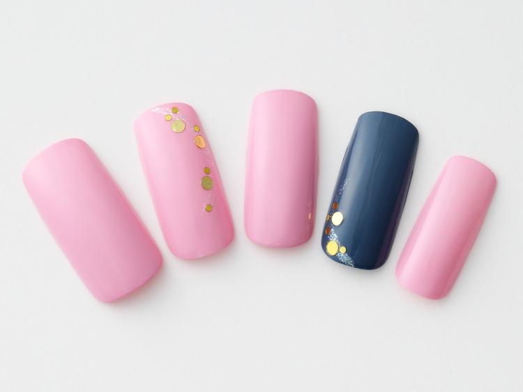 ピンク×ネイビーの簡単甘辛MIXネイル