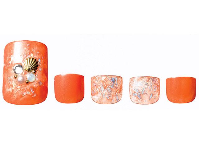 秋色オレンジ×ストーンが輝くシェル風ブリリアントネイル
