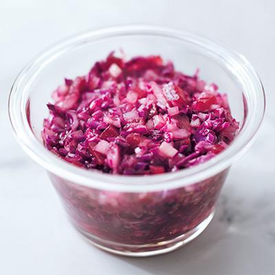 紫キャベツのドレッシングとラム肉で基礎代謝アップ