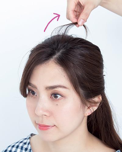 前髪で差をつける定番ハーフアップ