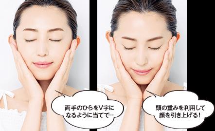 両手のひらをV字になるように当てて…頭の重みを利用して顔を引き上げる!