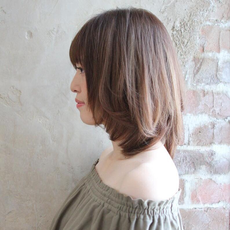 王道かわいい長し前髪とひし形シルエット