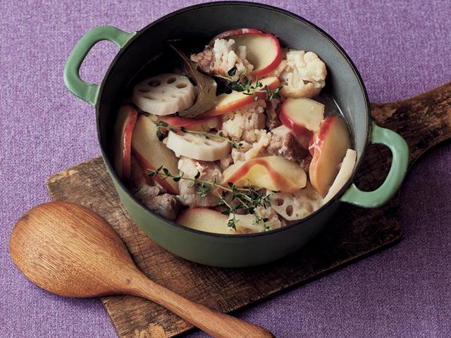血流の滞りを予防して肌がクリアに「豚肉と白い野菜のリンゴ煮」