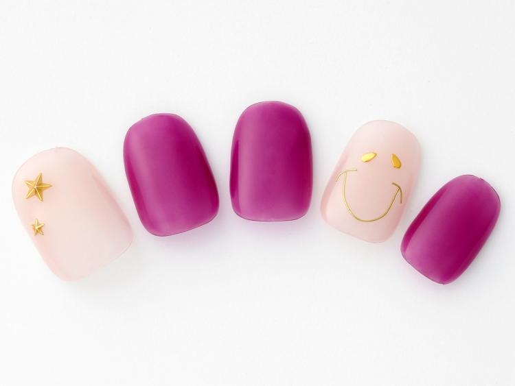 スマイルアートと大人かわいいピンクパープルネイル