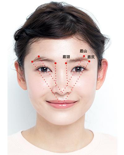 眉頭、眉山、眉尻の本来あるべき位置をチェック