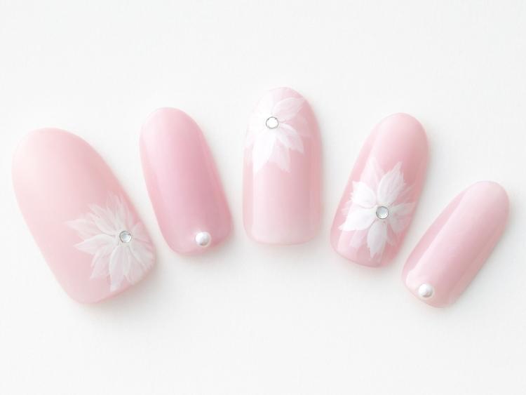 淡色ピンク×クリアホワイトのお花