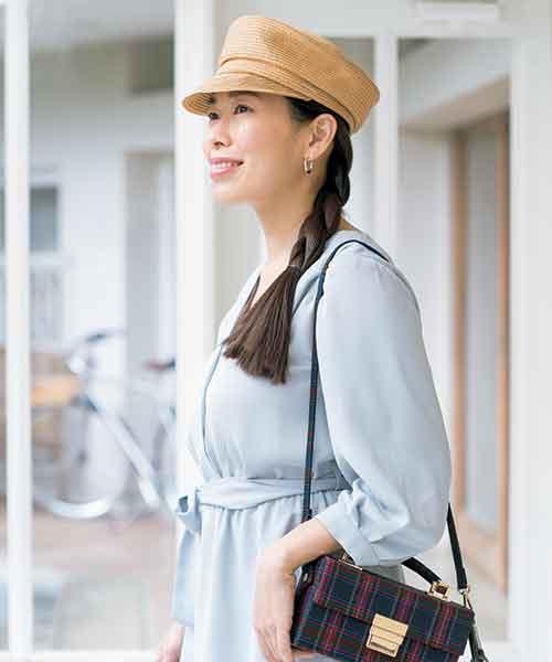 ヘアモデルは帽子&三つ編みで髪を紫外線から守る