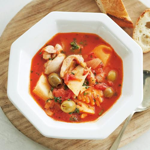 竹の子と鶏肉のトマトスープ