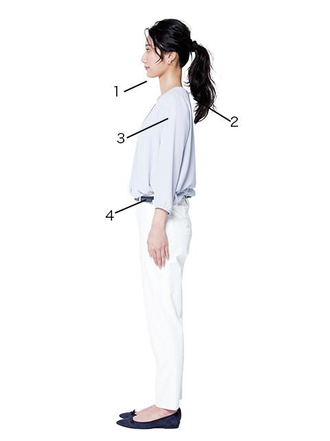 エクササイズ前に姿勢を矯正して首を長く見せ