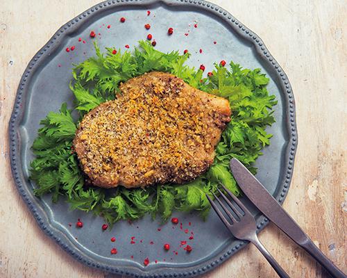 豚肉とクルミパン粉焼きカモミール風味