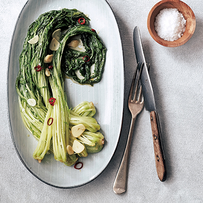 水菜×にんにくのシンプル料理